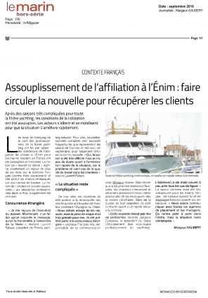 01.09.2018 PRESS Le Marin<br />Assouplissement de l'affiliation à l'Énim : faire circuler la nouvelle pour récupérer les clients