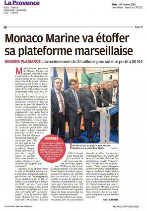07.02.2020 PRESS LA PROVENCE<br>Monaco Marine va étoffer sa plateforme marseillaise
