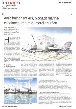 12.09.2020 LE MARIN HORS SERIE Avec huit chantiers, Monaco Marine essaime sur tout le littoral azuréen