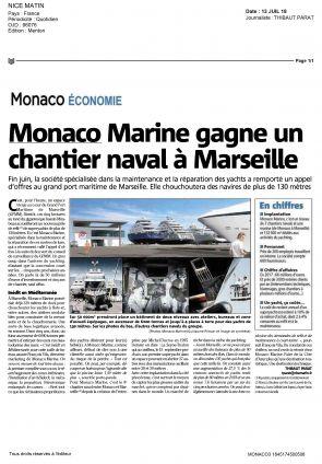 13.07.2018 PRESS Nice Matin<br /> Monaco Marine gagne un chantier naval à Marseille