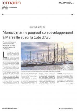 15.02.2020 PRESS LE MARIN<br>Monaco Marine poursuit son développement à Marseille et sur la Côte D'Azur
