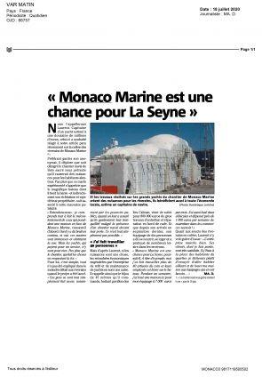18.07.2020 PRESS VAR MATIN<br>Monaco Marine est une chance pour La Seyne