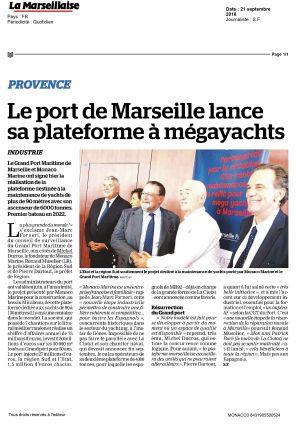21.09.2018 PRESS La Marseillaise <br />Le port de Marseille lance sa plateforme à mégayachts