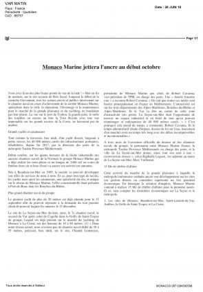 28.06.2018 PRESS Var Matin<br /> Monaco Marine jettera l'ancre début octobre