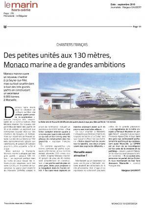 01.09.2018 PRESSE Le Marin<br /> Des petites unités aux 130 mètres, Monaco marine a de grandes ambitions