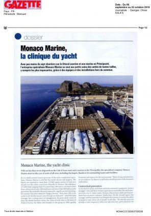 06.09.2019 PRESS LA GAZETTE DE MONACO<br>Monaco Marine, la clinique du yacht