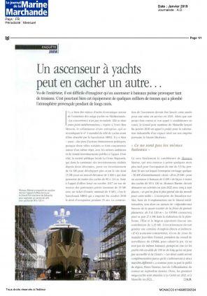 16.01.2019 PRESS LE JOURNAL DE LA MARINE MARCHANDE<br>Un ascenseur à yachts peut en cacher un autre...