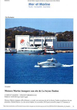 16.05.2019 PRESS MER ET MARINE<br>Monaco Marine inaugure son site de La Seyne-Toulon