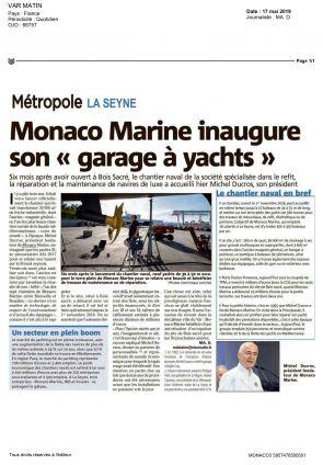 "17.05.2019 PRESS VAR MATIN<br>Monaco Marine inaugure son ""garage à yachts"""