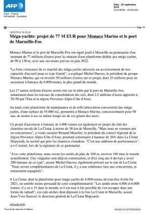 20.09.2018 PRESSE AFP<br />Méga Yachts, projets de 77 M pour Monaco Marine et le port de Marseille-Fos