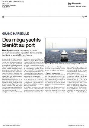21.09.2018 PRESSE 20 Minutes<br />Des Méga yachts bientôt au port