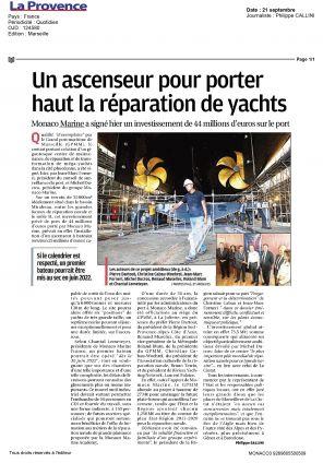 21.09.2018 PRESSE La Provence <br />Un ascensseur pour porter haut la réparation de yachts