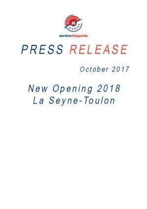 26.09.2017 COMMUNIQUE DE PRESSE <br />New Opening La Seyne-Toulon