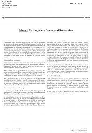 28.06.2018 PRESSE Var Matin<br /> Monaco Marine jettera l'ancre début octobre